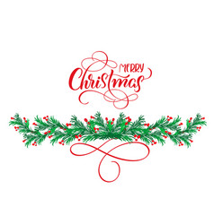 calligraphy text merry christmas with flourish and vector image
