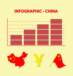 Colored infographic growing chinese trade vector