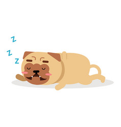Cute cartoon funny pug dog character sleeping vector
