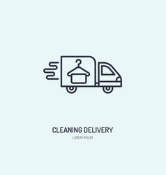 Delivery line icon fast dry cleaning courier logo vector