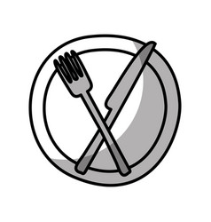 Dish with knife and fork kitchen cutlery isolated vector