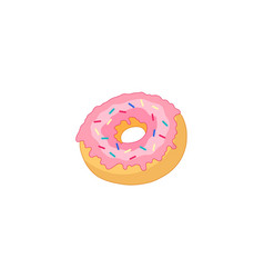 donut with glaze icing sprinkles isolated vector image