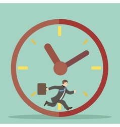 Flat design style businessman hurry within vector