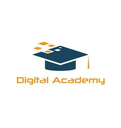 Graduation cap of digital academy design template vector image
