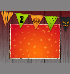 Halloween background with bunting and panel on vector