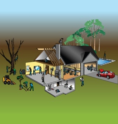 house and workers vector image