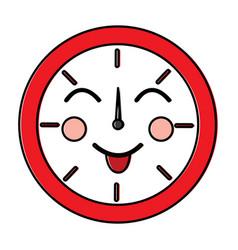 kawaii round clock time cartoon character vector image