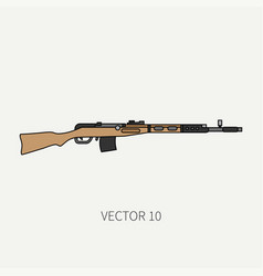Line flat color military icon rifle vector