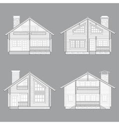 Log house line vector