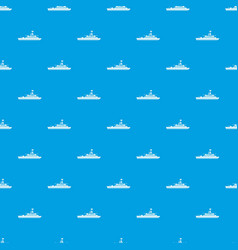 Military warship pattern seamless blue vector