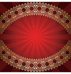 red background with bended golden frame vector image