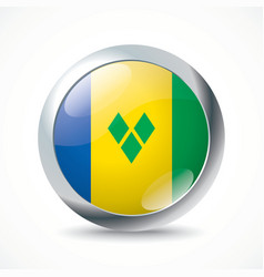 Saint vincent and grenadines flag button vector
