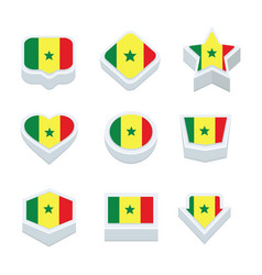 Senegal flags icons and button set nine styles vector