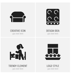 Set of 4 editable folks icons includes symbols vector