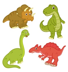 set of isolated dinosaur vector image