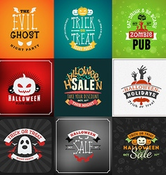 Set of Retro Happy Halloween Badges Design Element vector image