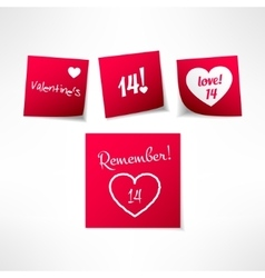 Set of valentines day note stickers with vector image vector image