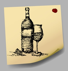 sketch drawing of wine on sticky paper vector image