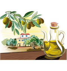 Sprig of a cruet with olive oil and olive oil vector