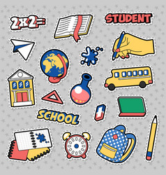 Stickers education school theme with books vector
