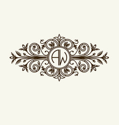 Stylish graceful monogram elegant line art logo vector
