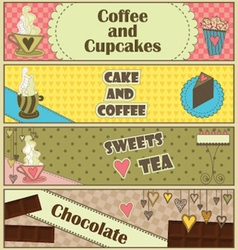 Sweet Coffee and Dessert Banners vector image vector image