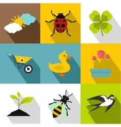 Tending garden icons set flat style vector image