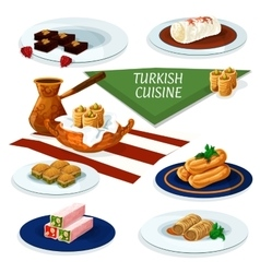 Turkish cuisine desserts menu cartoon icon vector image vector image