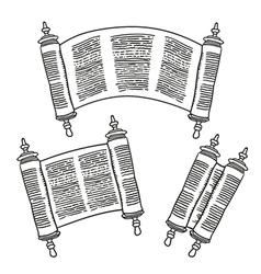 Vintage roll of antique blank manuscript over vector