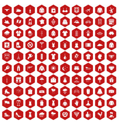 100 clothing icons hexagon red vector