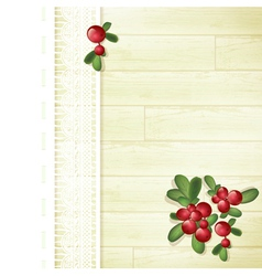Cranberries at Wooden Background vector image
