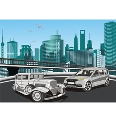 City landscape - vintage cars and modern car in vector image