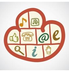 Doodle cloud computing concept vector image