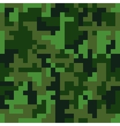 Pixel camo seamless pattern Green forest vector image