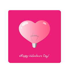 Light bulb in shape of heart with the word love vector