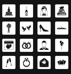 Wedding icons set squares vector