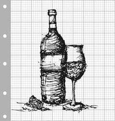 Sketch drawing of wine on grey graph paper vector