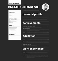 Black and white cv resume template with nice vector