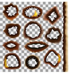 burned paper on a transparent background set vector image