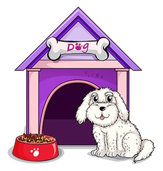 A dog outsite the purple house vector