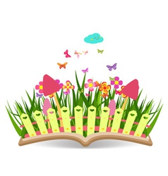 Spring with grass and flowering in the book vector