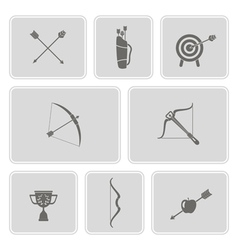 Set of monochrome icons with archery vector