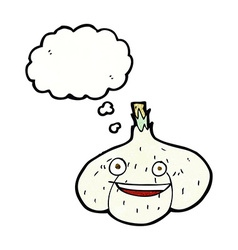 Cartoon garlic with thought bubble vector
