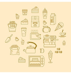 Cafe equipment outline icons design collection 3 vector