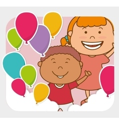 Kids birthday celebration cartoon vector