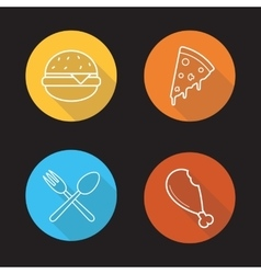 Food flat linear icons set vector