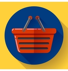 Shopping basket icon flat design style vector