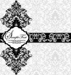 Damask invitation floral card vector