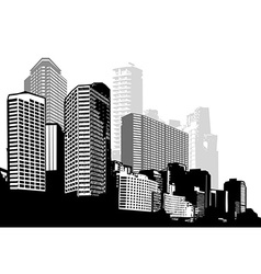 Black and white panorama city art vector image vector image