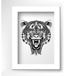Black drawing head tiger drawing with the opened vector